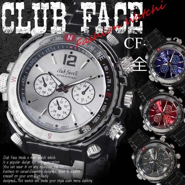 club face black メンズ メタル 腕時計☆CF-10...