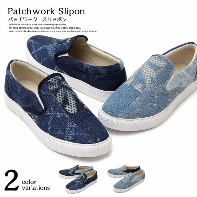 【glabella】Patchwork Slipon  2color /沖縄・...