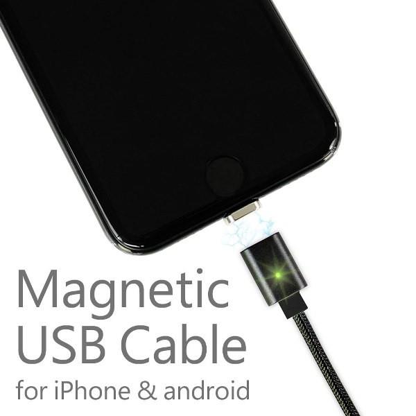 マグネット式 USBケーブル ブラック 20cm 充電 デ...