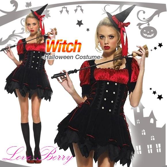ハロウィン Halloween コスプレ コスチューム 仮装 魔女 ワンピース&ハット 2点セット