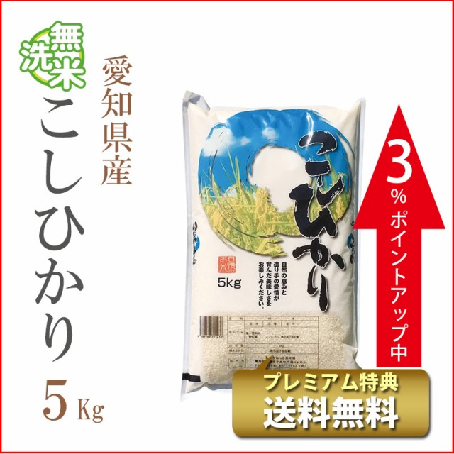 タイムセール 米 無洗米 5kg 愛知県産 コシヒカリ...