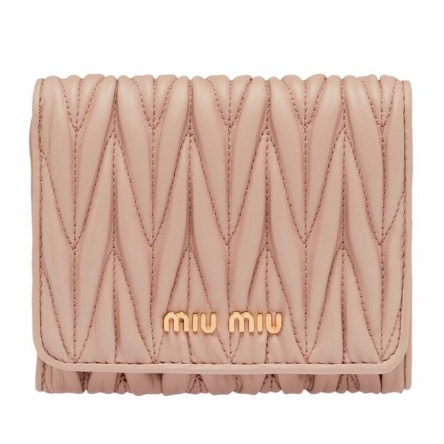 即日発送 ミュウミュウ 二つ折り財布 5MH016 N88 F0770 色:CAMMEO-ベージュ