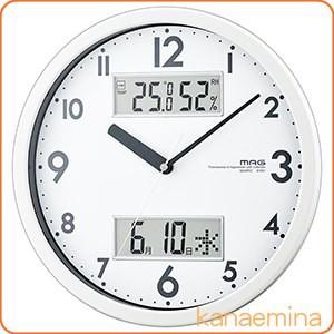 壁掛け時計 アナログ シンプル 温度計 湿度計 カ...