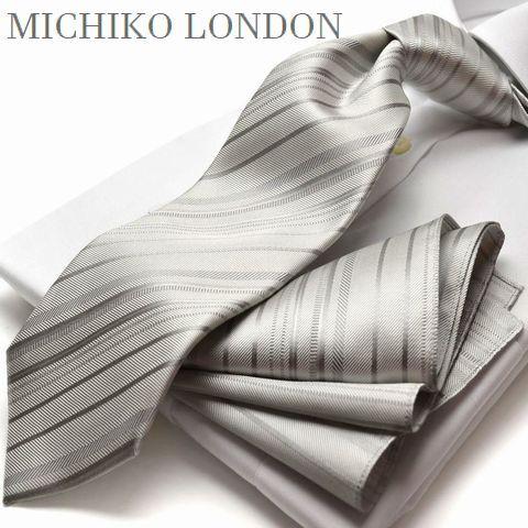 礼装ネクタイ (チーフ付) MICHIKO LONDON グレー ...