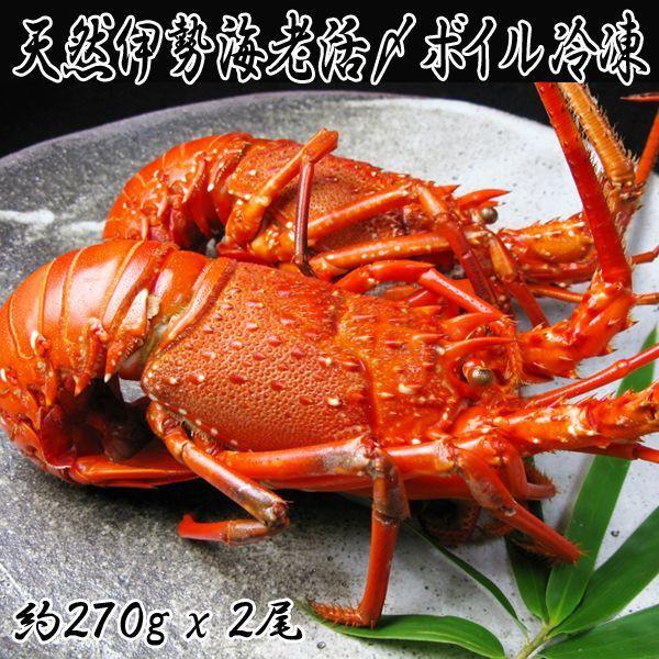 天然伊勢海老活〆ボイル冷凍(約300x2尾 約600g 国...