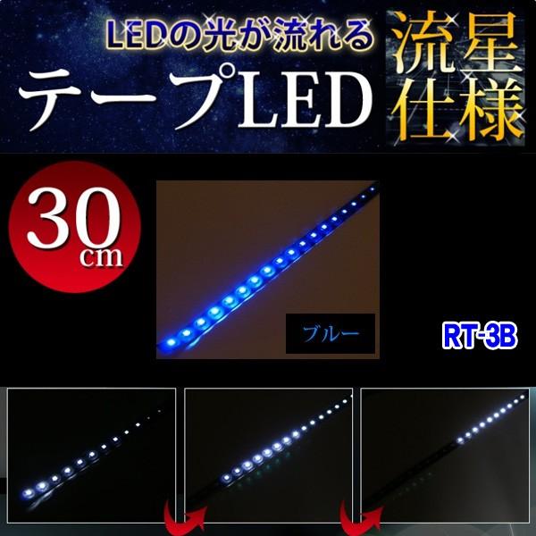 流星仕様 流れるLEDテープ 高輝度22LED 30cm ブル...