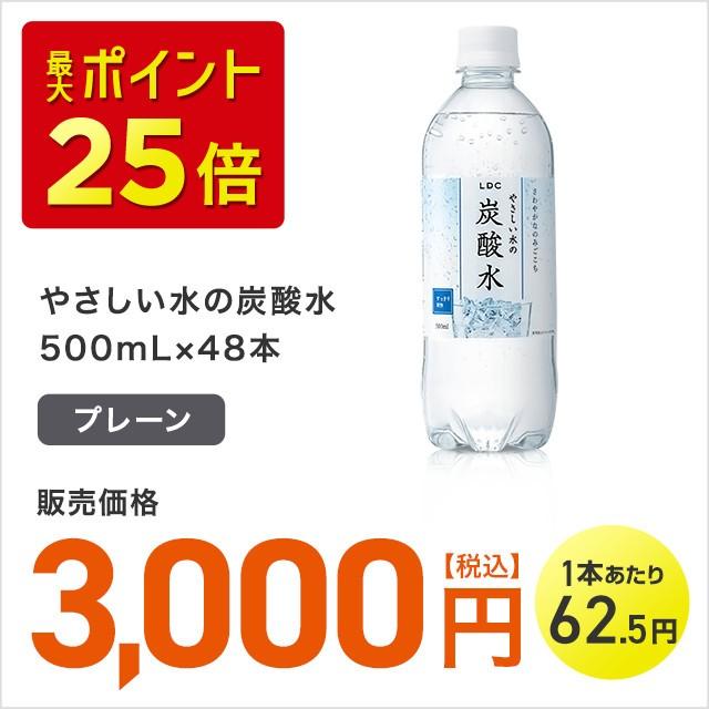 やさしい水の炭酸水 プレーン 500mL×48本