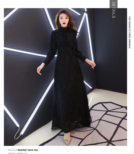 新作 高品質 黒 ロングドレス パーティードレス  ...
