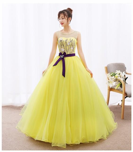 0657c42008aab お得 パニエ付 カラードレス ロングドレス パーティドレス ワンピ 黄色 ...