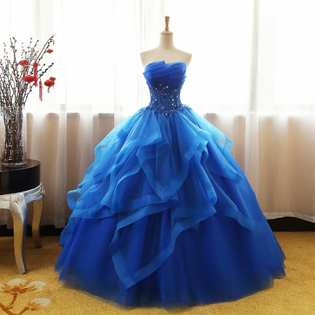 ブルー ウェディングドレス パーティドレス ロン...
