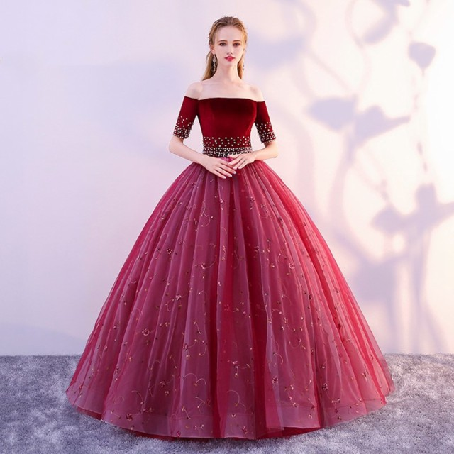 高品質 カラードレス ロングドレス パーティドレ...