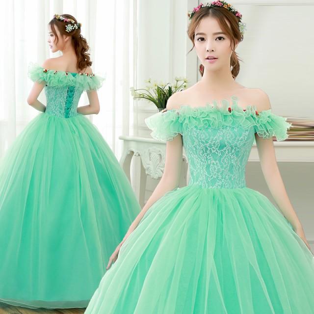 グリーン カラードレス ロングドレス パーティド...