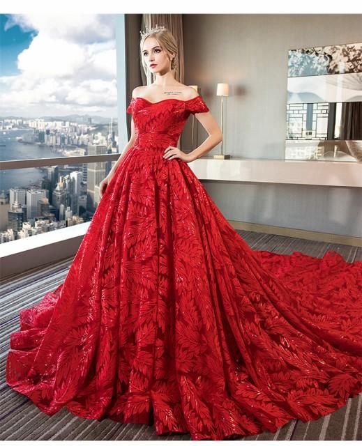 赤 レース ウェディングドレス カラードレス 体型...