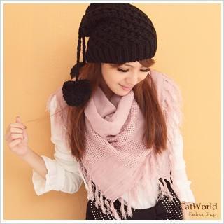 【即納】全5色・ネット風フリンジビッグスカーフ...
