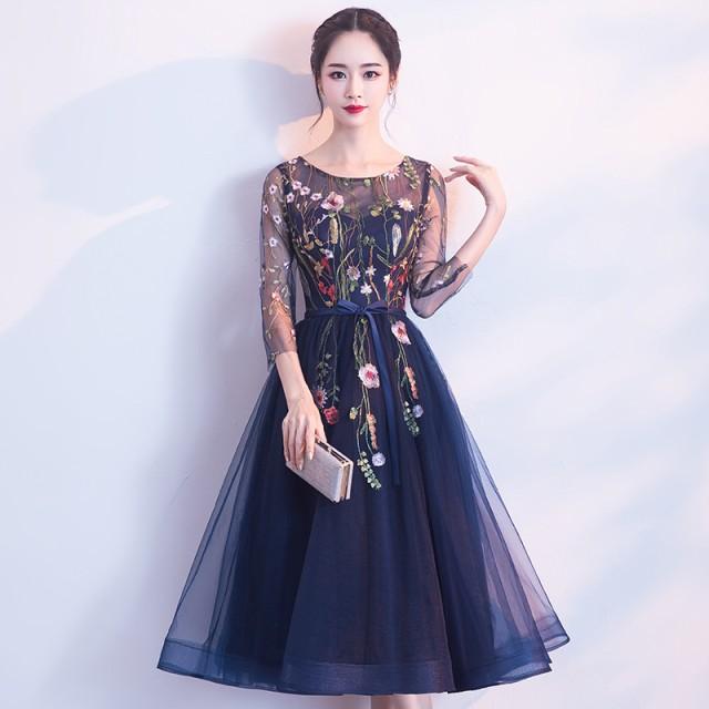 刺繍 パーティードレス 結婚式 ワンピース   ミ...