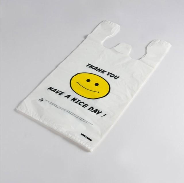スマイルビニール袋 レジ袋 手提げ袋 笑顔デザイ...