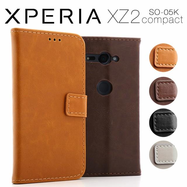 Xperia XZ2 Compact アンティークレザー手帳型ケ...