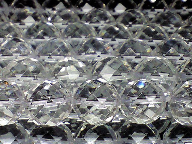 天然石ビーズ 64面カット本水晶8ミリ 1連約40セ...