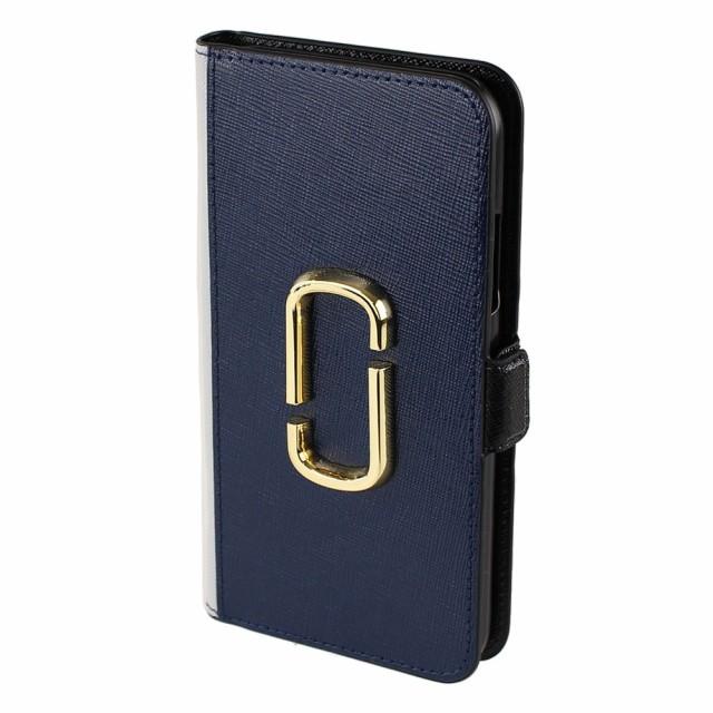 マークジェイコブス iPhoneケース レディース iPhoneXR手帳型カード収納型 MARC JACOBS m0014747 ネイビー×マルチ系バイカラー スマホケ