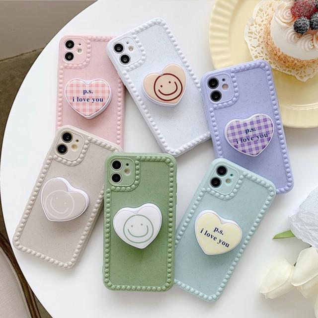 iphone11 ケース 韓国 TPU ぷっくりハートグリッ...