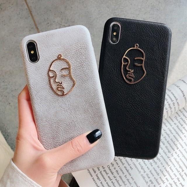 iphone ケース 韓国 フェイスモチーフシンプル 個...