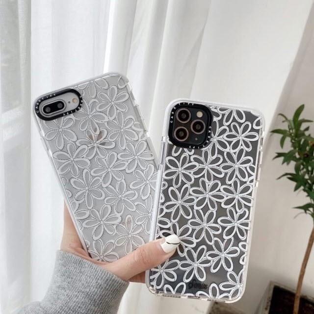 iphone11 ケース 韓国 TPU クリアフラワーケース ...