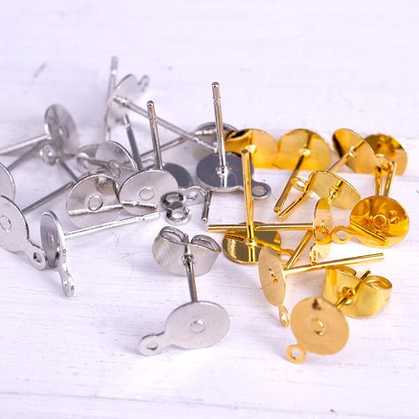 リング付き 平皿ピアス 40セット ゴールド/シルバ...