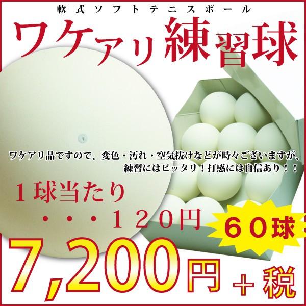 軟式テニスボール練習球 60個(5ダース)【ワ...