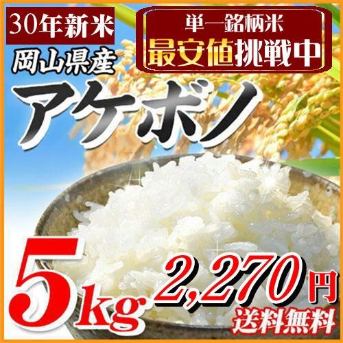 新米 5kg アケボノ 30年岡山県産 送料無料 北海道...