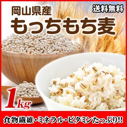 もっちもち大麦 1kg チャック付 30年岡山県産 ゆ...