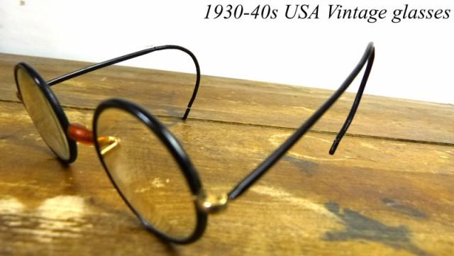 1930-40s USA直輸入 巻きつるテンプルメ丸メガネ ...
