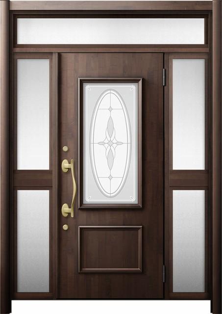 玄関ドア リシェント3 断熱 K4 C15型 両袖ランマ...
