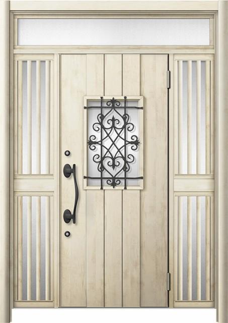 玄関ドア リシェント3 断熱 K4 D41型 両袖ランマ...