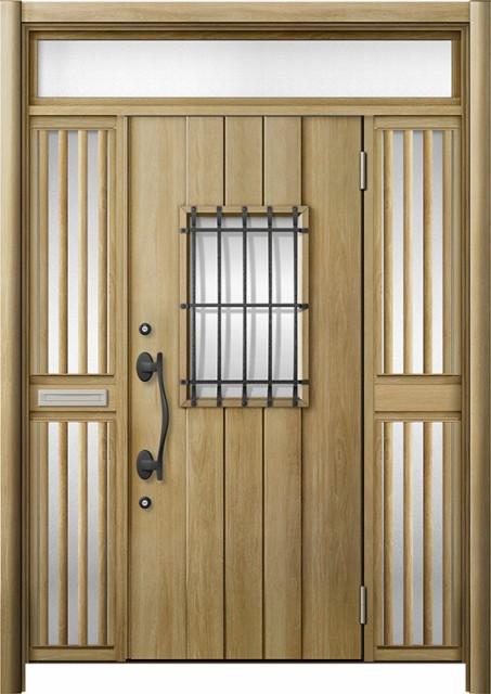 玄関ドア リシェント3 断熱 K4 D44型 両袖ランマ...