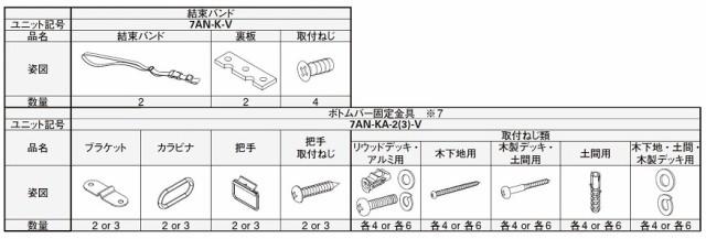 ボトムバー固定金具 3個入り 7AN-KA-3-V アウター...