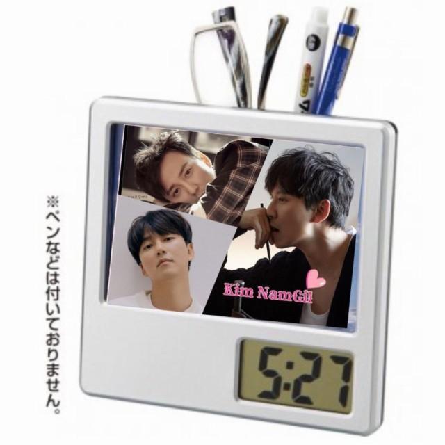 キムナムギル 写真入り ペン立て付き 置き時計 時...