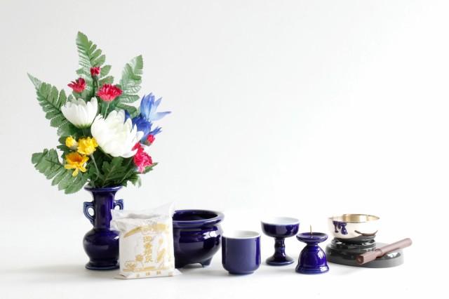 仏具 仏具セット 瑠璃 ルリ 国産 陶器 5点 香炉灰...