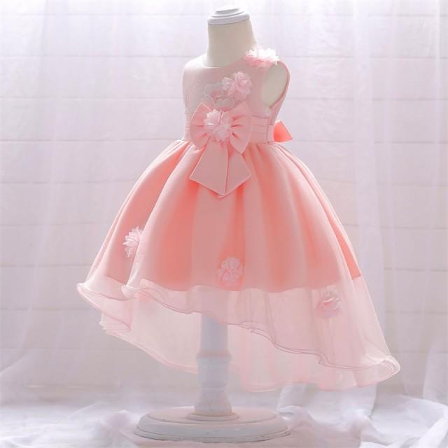3色【70-90cm】ベビードレス/リボン/子どもドレス...