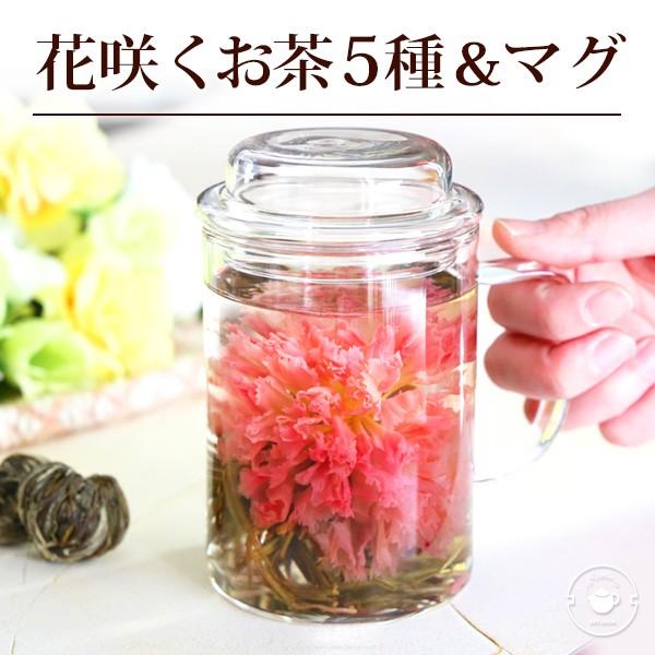 お茶 工芸茶 花茶 花咲くお茶5種とマグ いやし 送...