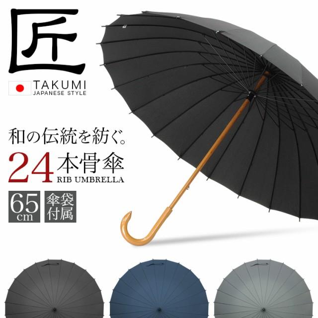 【65cm】【24本骨】傘 メンズ 長傘  雨傘