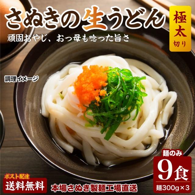 送料無料 讃岐生うどん9食セット 【極太麺】(麺30...