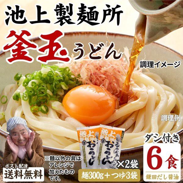 送料無料 池上製麺所特製 釜玉うどん 6食 ポイン...
