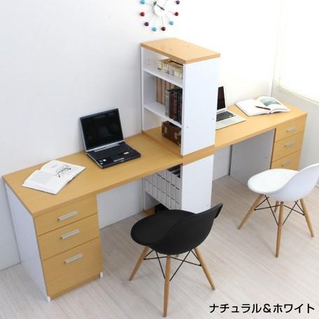 【学習机 ツインデスクセット 書棚付きラック 3段...