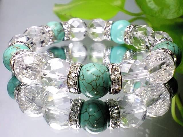 爽やか天然石◆ターコイズ&64面カット天然水晶12...