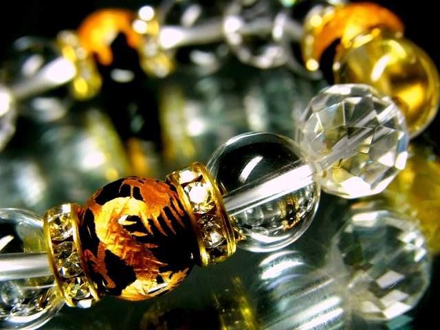 四神獣オニキス§128面カット水晶&水晶12ミリ金...