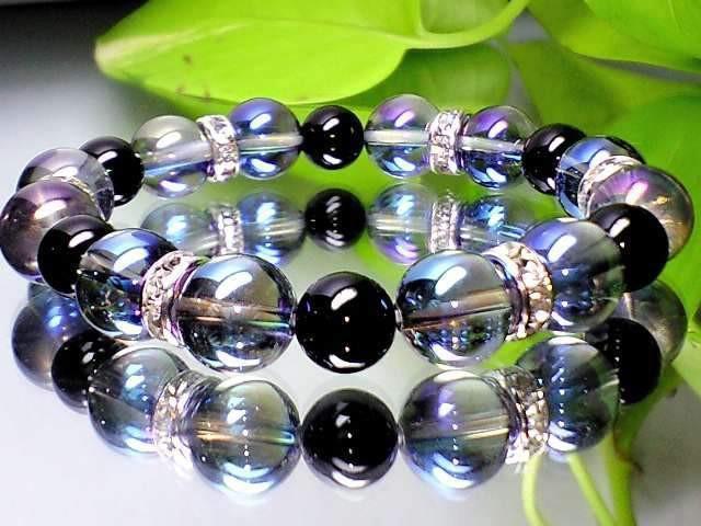 蒼と黒の色合い天然石◆ブルーオーラ・オニキス黒...