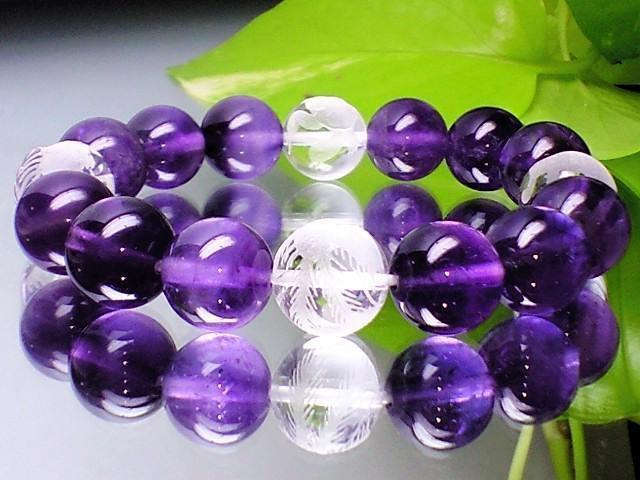 素彫四神獣水晶・天然アメジスト紫水晶12ミリ数珠...