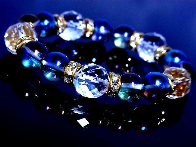 64面カット水晶12ミリ§ブルーオーラ10ミリ金ロン...