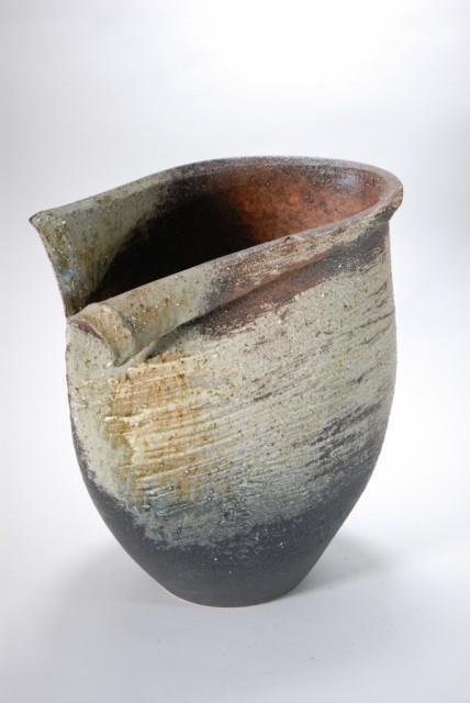古陶白窯変花入れ 12号 (信楽焼・陶器・花瓶・...