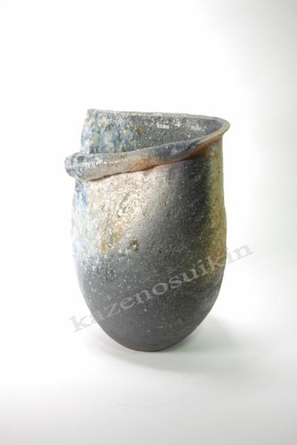 灰窯変しずく花入れ 12号 (信楽焼・陶器・花瓶...